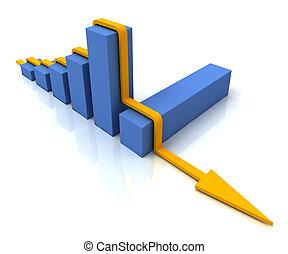 barre, profit, suit, sur, diagramme, budget, ligne, spectacles