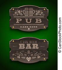 barre, pub, bois, signes