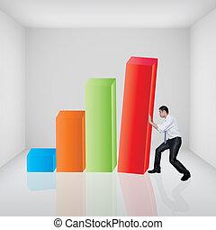 barre, salle, business, graphique, pousser, 3d, galerie, homme