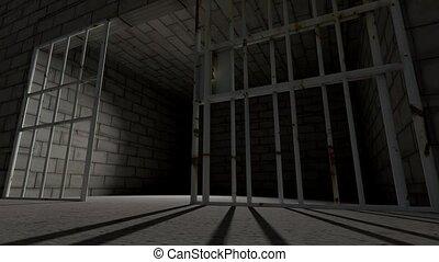 barres, fermer, cellule prison