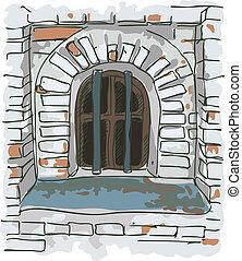 barres, jail., vieux, fenêtre