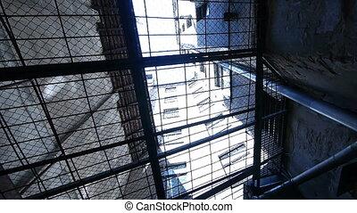 barres, -, par, prison., hd, vue