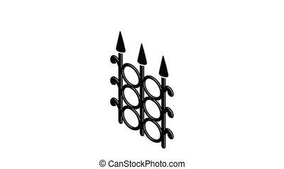 barrière, animation, métal, icône