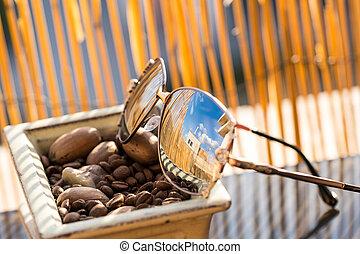 barrière, bambou, profil, lentilles, foyer sélectif, lunettes soleil, femmes, avoir, fond, grand