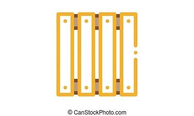 barrière, bois, animation, icône