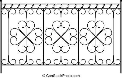 barrière, gril, porte, fenêtre, conception, fer, balustrade, forgé, portail
