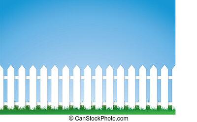 barrière piquet, blanc