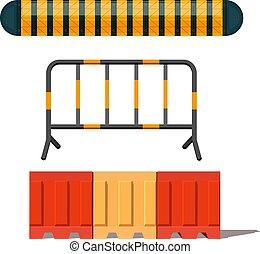 barrière, vecteur, raies, objet, image, signe., sécurité, isolé, route, blanc, réaliste, jaune, illustration, arrière-plan.