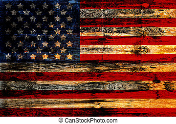 barrière, vieux, américain, bois, drapeau, sombre, peint