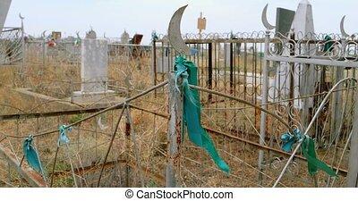 barrière, vieux, musulman, herbe, rubans, tombes, sec, champ vert
