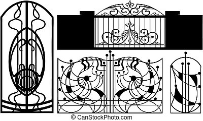 barrières, collection, (vector)