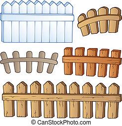 barrières, dessin animé, collection