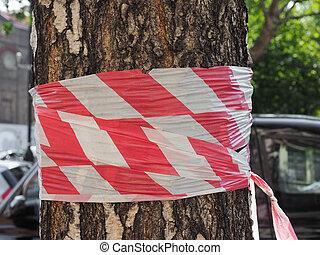 barricade, bande, tronc arbre