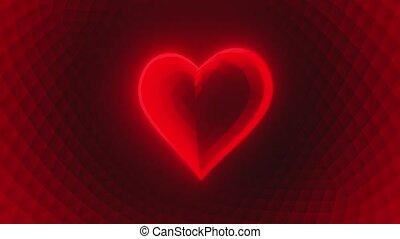 bas, 3d, coeur, incandescent, rouges, render, poly, boucle