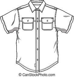 bas, bouton, hommes, chemise