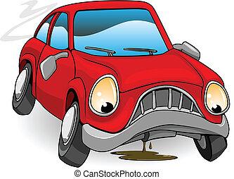 bas, cassé, triste, dessin animé, voiture