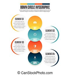 bas, cercle, infographic