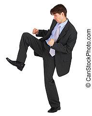 bas, coups pied, fond blanc, homme affaires