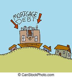 bas, dette, dessus, hypothèque