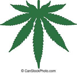 bas, feuille, dessus, marijuana