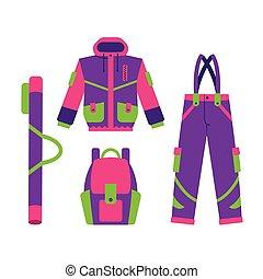 bas, hiver, randonnée, veste, ski, sport