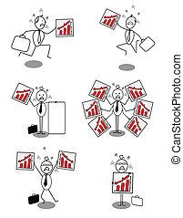 bas, homme affaires, ensemble, diagramme