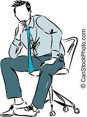 bas, homme affaires, illustrati, séance