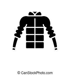 bas, illustration, isolé, signe, veste, vecteur, arrière-plan noir, icône