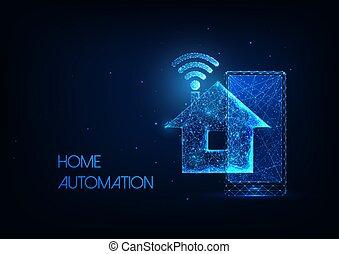 bas, incandescent, wifi, maison, polygonal, concept, maison, technologie, téléphoner système, intelligent, futuriste