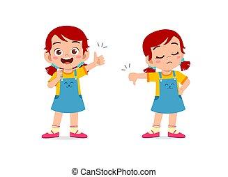 bas, pouce, exposition, main, girl, geste, peu, haut