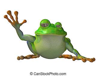 bas, séance, isolé, grenouille, onduler, fond, blanc, dessin animé