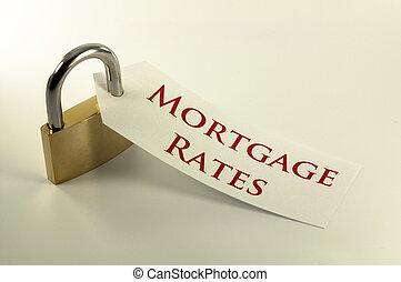 bas, taux, concept, verrouillé, hypothèque