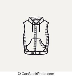 bas, veste, gilet, croquis, icon.