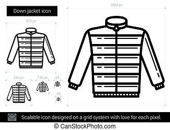 bas, veste, ligne, icon.