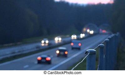 bas, voitures, evening., route, conduite