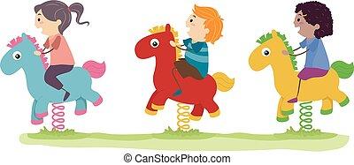 bascule, cheval, gosses, stickman, illustration, cour de récréation
