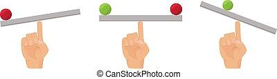 bascule, equilibrio, bureau, main, humain, plat, balance., vecteur, doigt, concept, balle