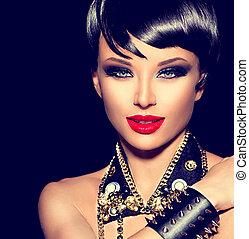 bascule, style, mode, beauté, punk, girl., brunette, modèle