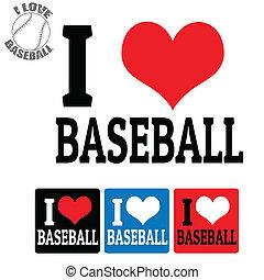 base-ball, étiquettes, amour, signe