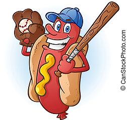base-ball, chaud, caractère, chien, dessin animé