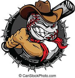 base-ball, cow-boy, holdin, dessin animé, figure