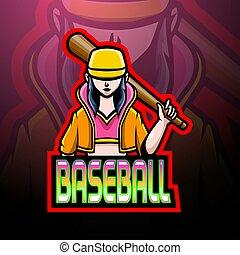 base-ball, esport, logo, conception, mascotte, joueur