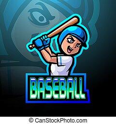base-ball, logo, esport, joueur, mascotte, conception