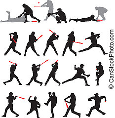 base-ball, poses, silhouette, 21, détail