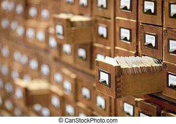 base données, vendange, concept., carte bibliothèque, fichier, catalog., ou, cabinet.