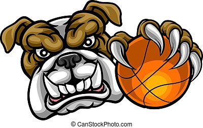 basket-ball, bouledogue, sports, balle, tenue, mascotte