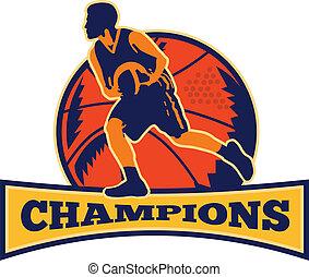 basket-ball, dribble, joueur, balle, retro, champions