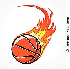 basket-ball, flamboyant, vecteur