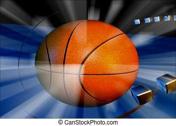 basket-ball, flash, balle, lumière