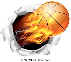 basket-ball, fond, balle, déchirure, trou, flamboyant